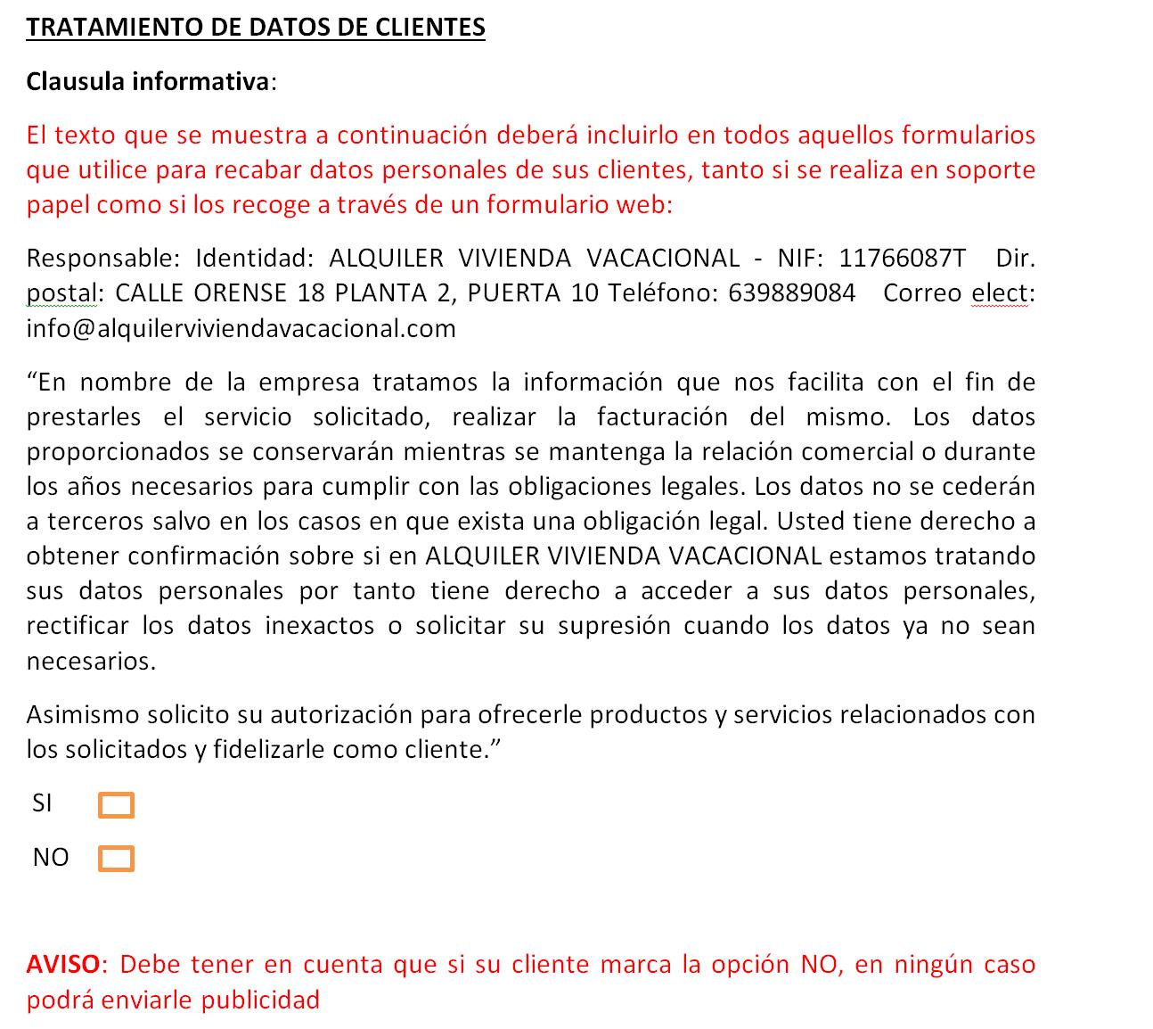 Facilita RGPD: Clausula informativa