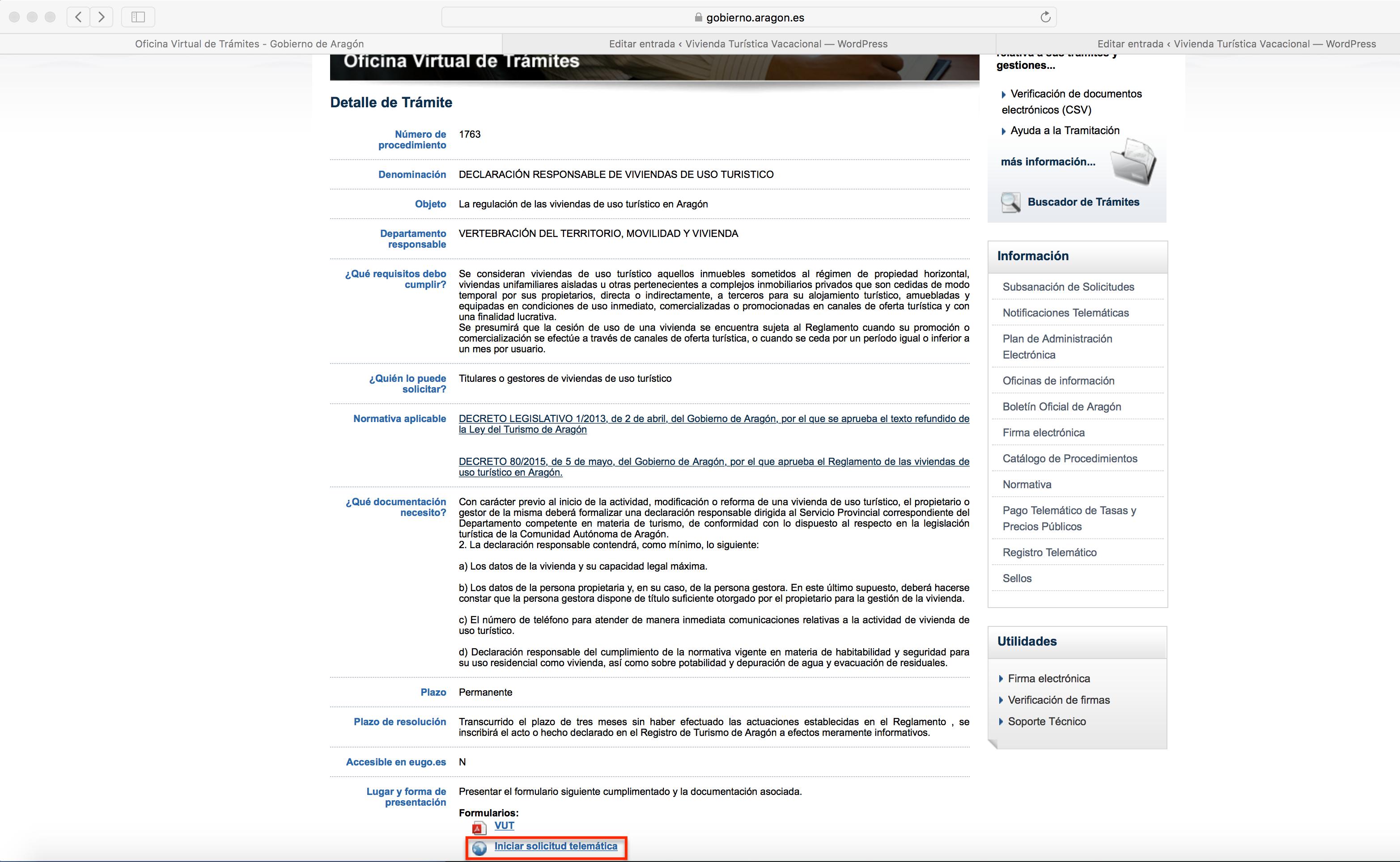Oficina Virtual de Trámites > Iniciar solicitud telemática