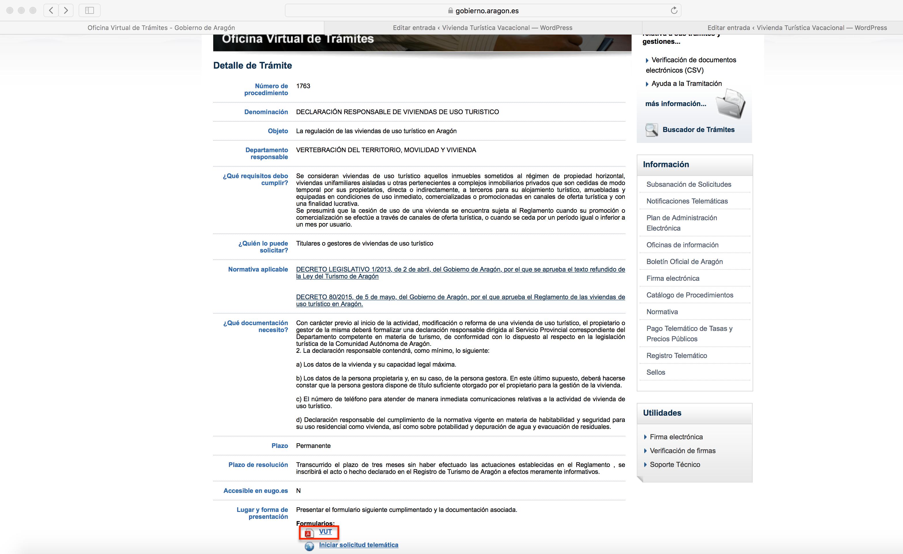Oficina Virtual de Trámites > VUT