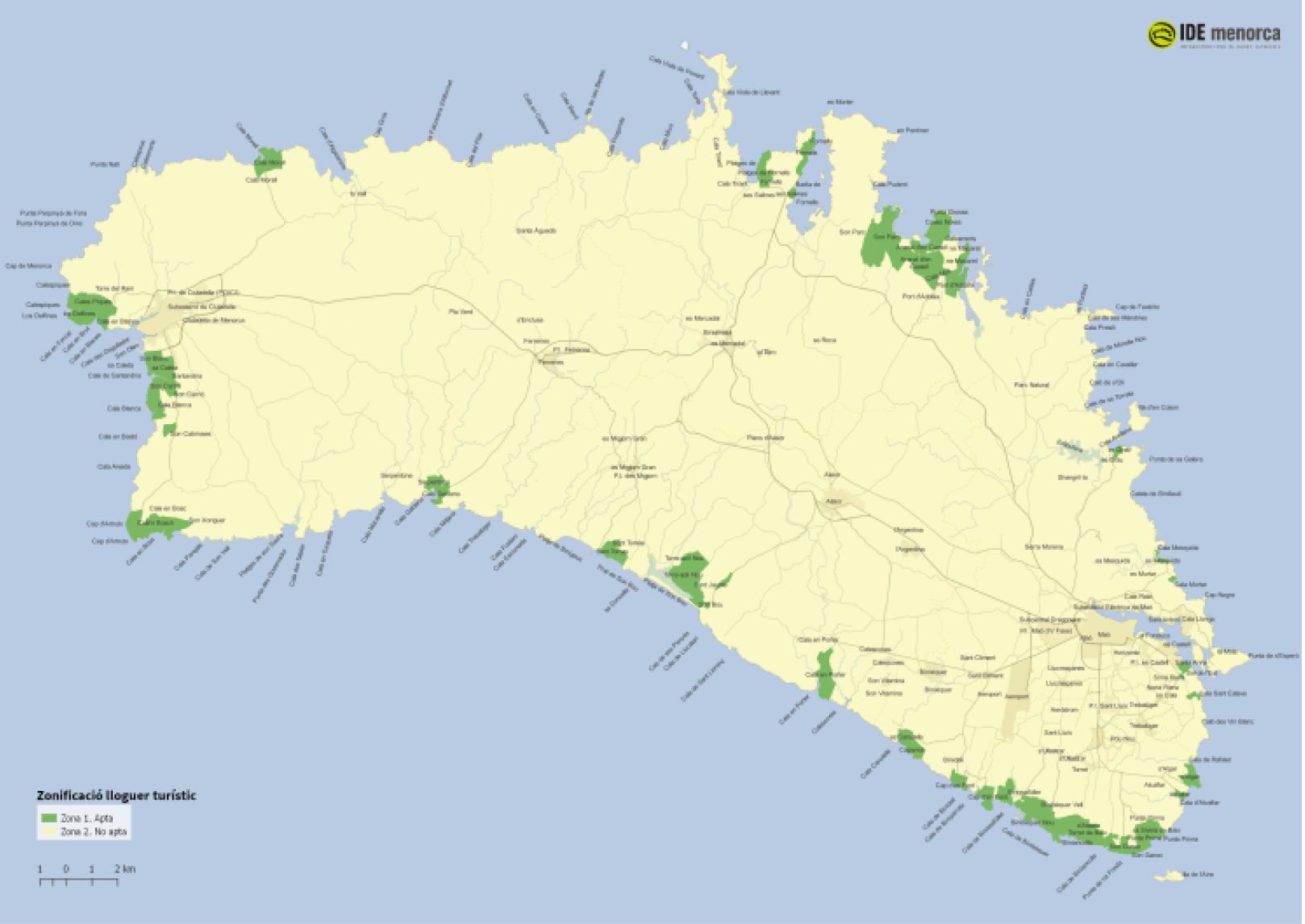 Delimitación provisional Menorca
