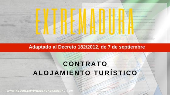 Extremadura: Modelo de contrato de arrendamiento turístico vacacional