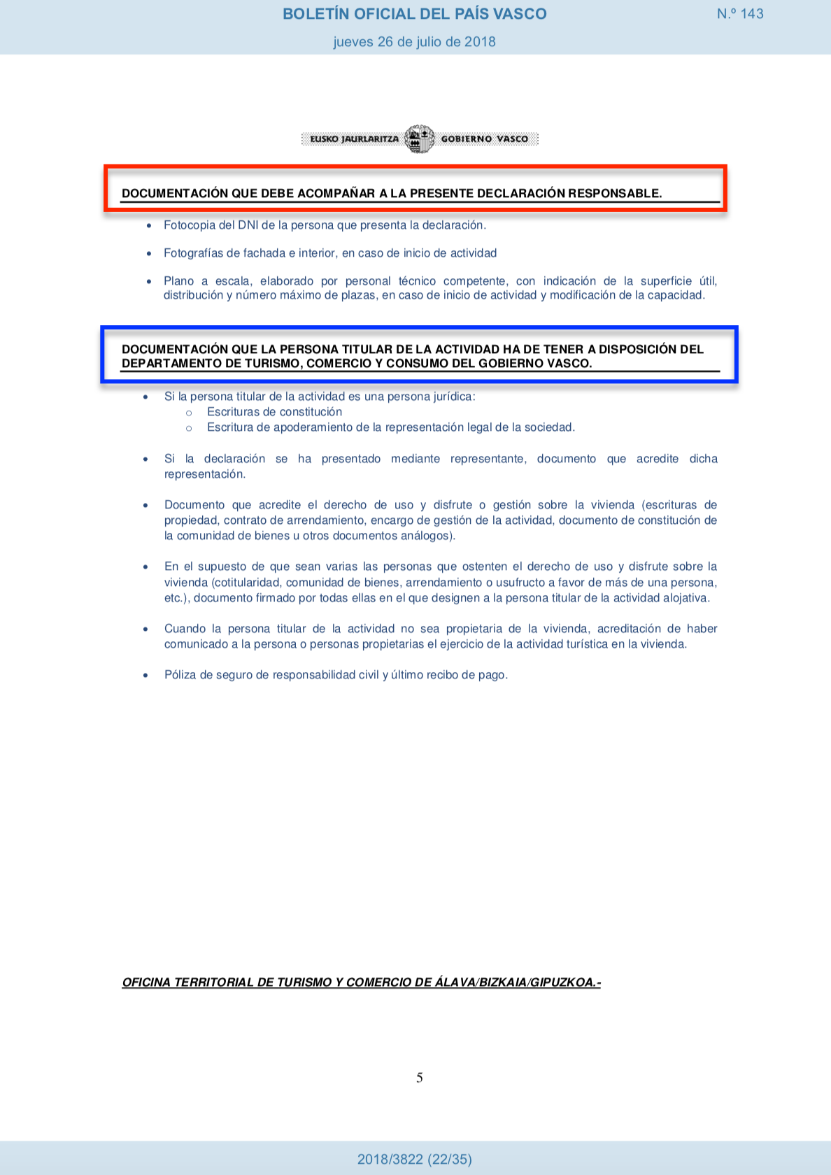 Documentos de la Declaración responsable