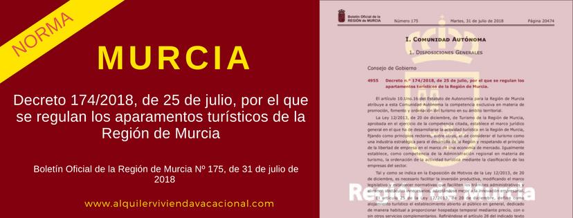 Murcia: Decreto 174/2018, 25 julio, Apartamentos turísticos