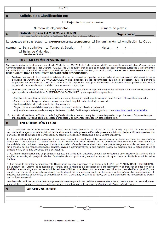 Murcia: Declaración Responsable de Clasificación de Alojamientos vacacionales 2