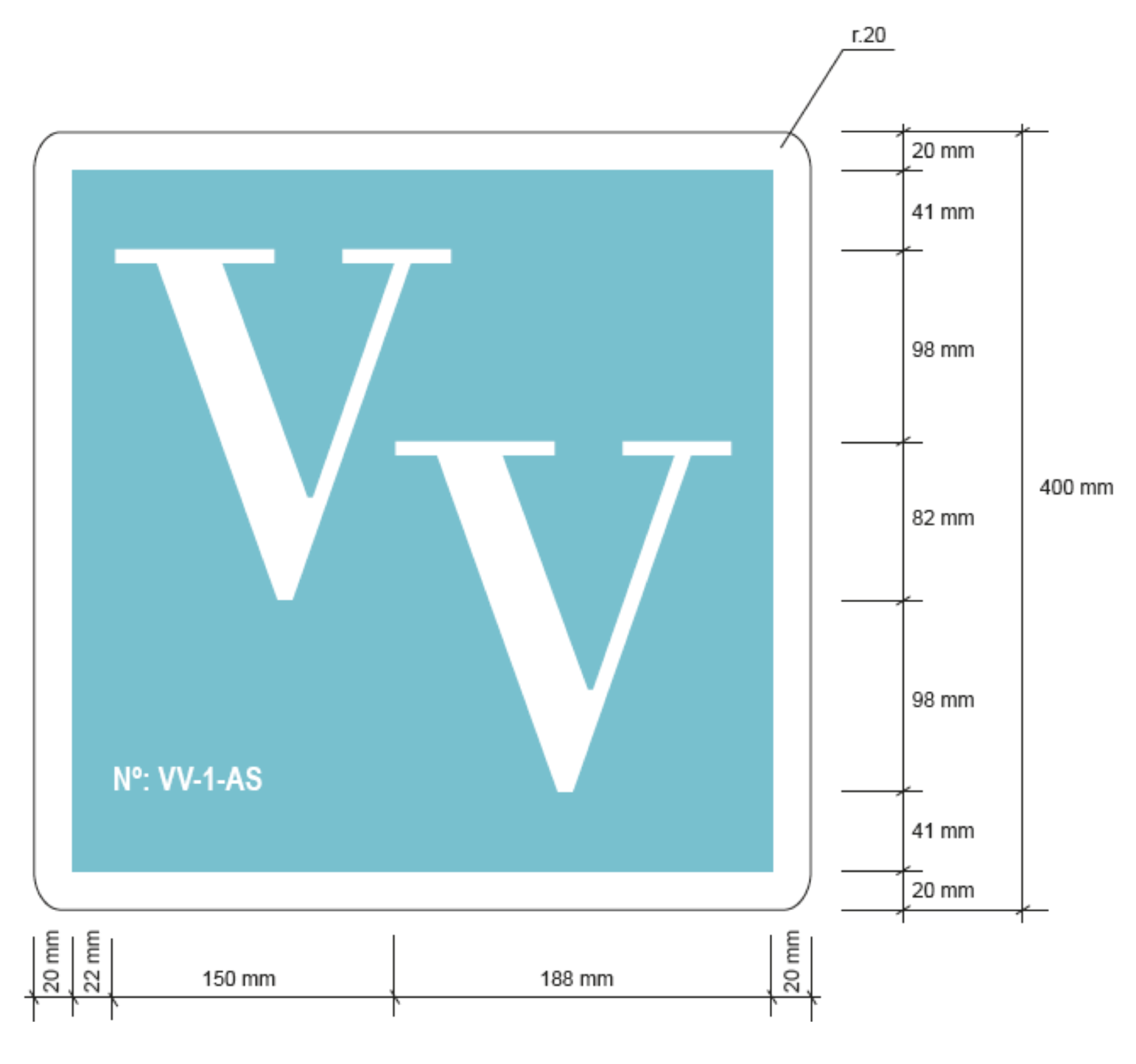 Placa identificativa · VV · Asturias